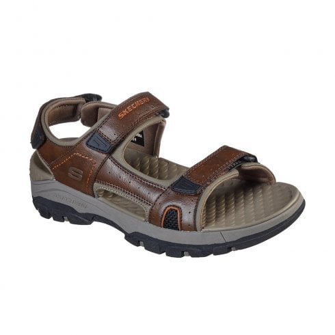 Skechers Mens Relaxed Fit Tresmen Hirano Brown Casual Velcro Sandals - 204106