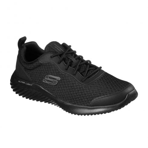Skechers Mens Bounder Voltis Black Textured Mesh Sneakers