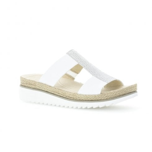 Gabor Ladies Slip On Low Wedge White Sandals - 43.720