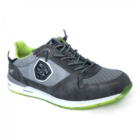 Mustang Mens Grey/Lime Sneakers - 4154-301-2