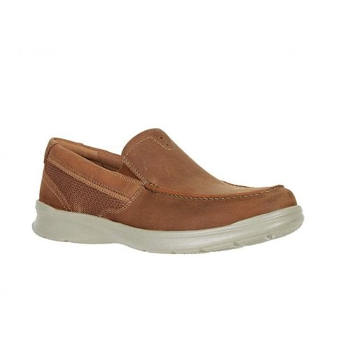 Clarks Mens Cotrell Easy Tan Leather Casual Slip On Loafer Shoes (G Width)