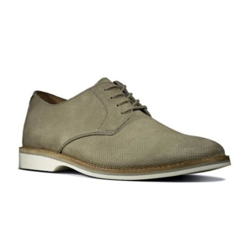 Clarks Mens Atticus Sage Green Nubuck Smart Oxford Lace Up Shoes (G Width)