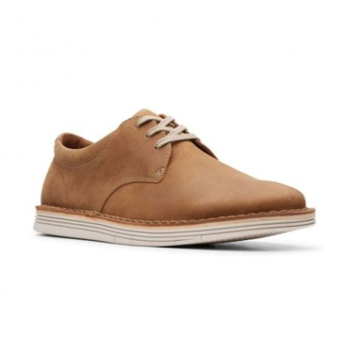 Clarks Mens Forge Vibe Tan Leather Casual Lace Up Shoes (G Width)