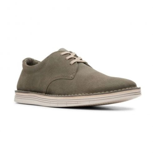 Clarks Mens Forge Vibe Olive Suede Casual Lace Up Shoes
