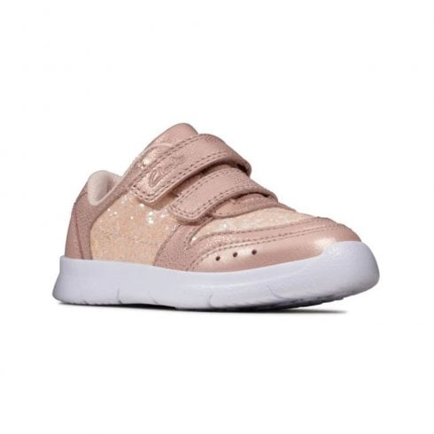 Clarks Kids Ath Sonar Toddler Velcro Pink Leather Shoes (F Width)
