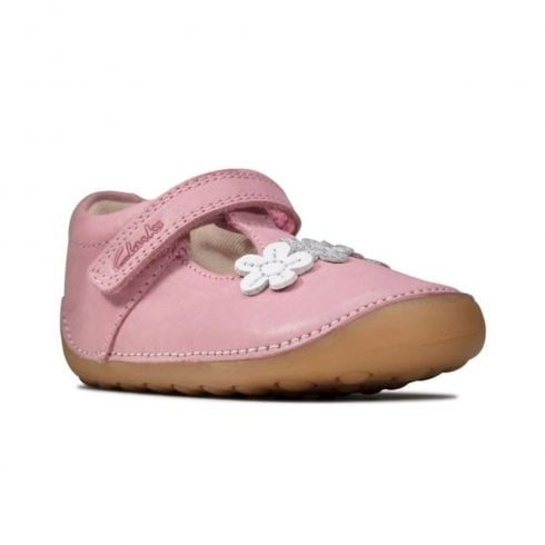 Clarks Kids Tiny Sun Toddler Velcro Pink Leather Mary Jane Shoes (F Width)