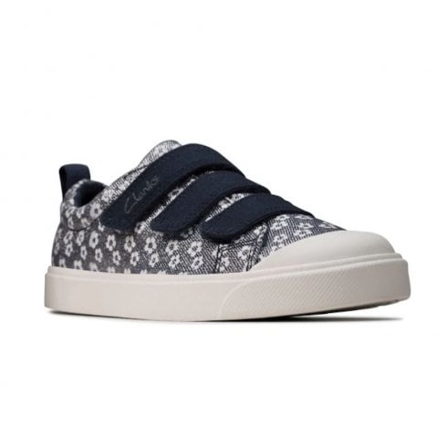 Clarks Girls City Vibe Kid Velcro Navy Floral Glitter Canvas Shoes (F Width)