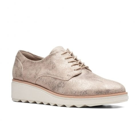 Clarks Womens Sharon Crystal Pewter Low Wedge Lace Up Derby Shoes