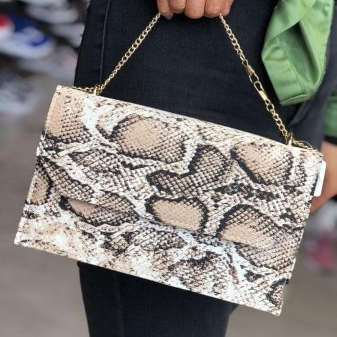 Glamour Snake Print Clutch Bag - Clara