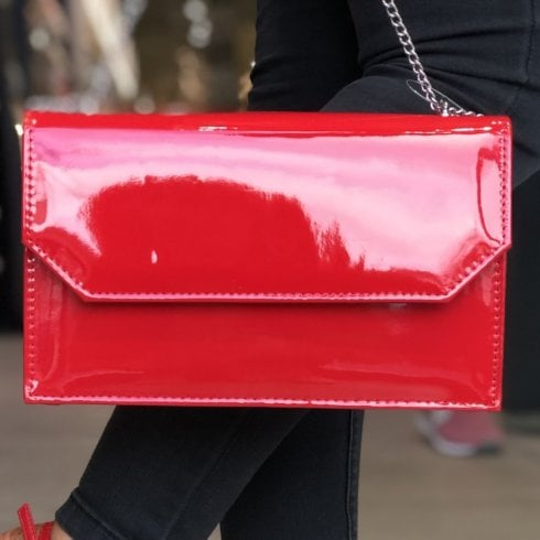 Glamour Red Patent Clutch Bag - Chloe