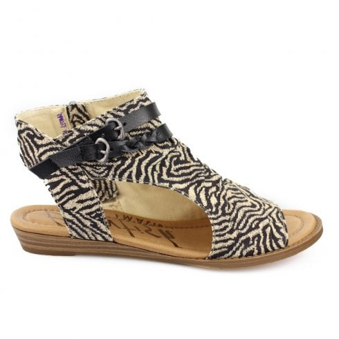 Blowfish Womens Bluemoon Open Toe Ankle Sandals - Zebra Beige