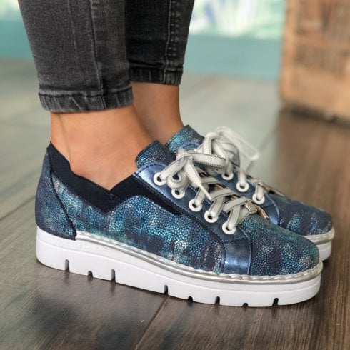 Jose Saenz Multi Blue Metallic Laced Shoe