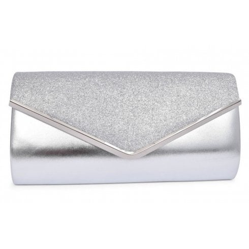 Glamour Sadie Sparkly Envelope Clutch Bag - Silver