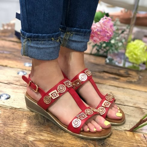 Heavenly Feet Red/Gold T-Bar Low Wedged Sandals - Pandora