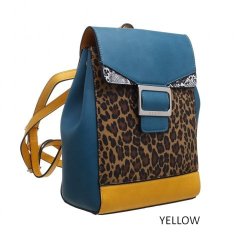 Bessie London Womens Wild Flap-Over Buckle Leopard Print Backpack - BL4202