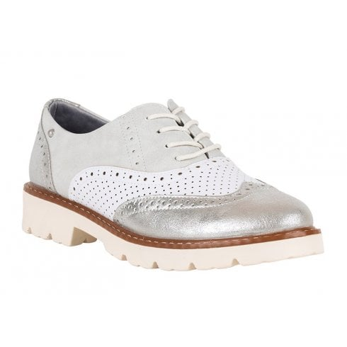 Zanni & Co Womens Tampa Bay Silver Brogue Shoes