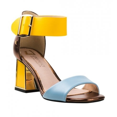 Una Healy Circle Song Pineapple Fizz Yellow Blue Heeled Sandals