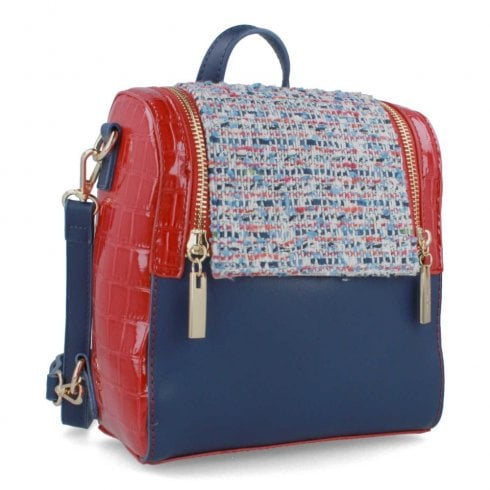 Menbur Navy Red Tweed Backpack