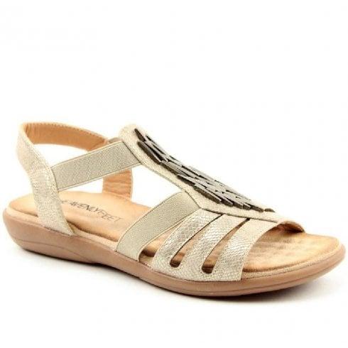 Heavenly Feet Stone Croc Effect Flat Sandals - Agneta