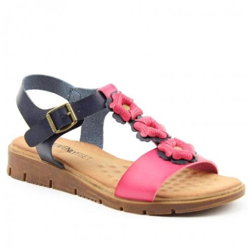 Heavenly Feet Flower Pink/Navy Sandals - Blossom