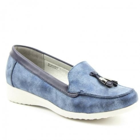 Heavenly Feet Blue Comfort Low Wedged Shoes - Marigold
