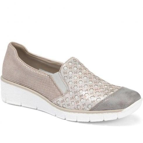 Rieker 537W4-40 Ladies Grey Wedge Slip