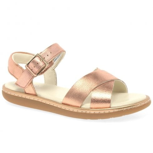 Clarks Girls Skylark Pure F Junior Kids Leather Sandals - Bronze