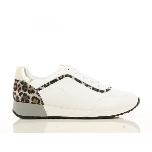 Sprox White and Leopard Print Trainers