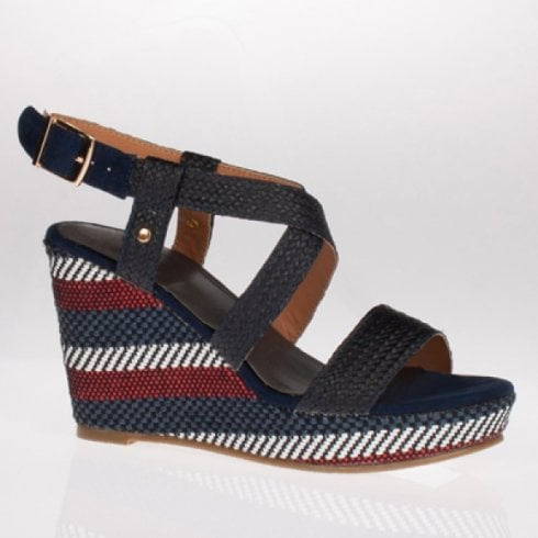 Escape Shoes Escape Rocheport Navy Mix Wedged Sandal