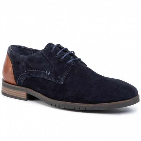S Oliver S.Oliver Mens Suede Leather Laced Smart Shoes - Navy