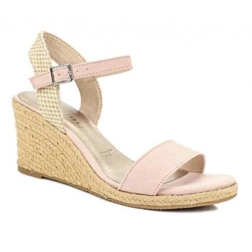 Tamaris Womens Nubuc Wedge Heeled Sandals - Rose/Beige