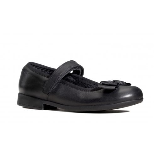 Clarks Scala Tap Girls School Shoe - Black Leather
