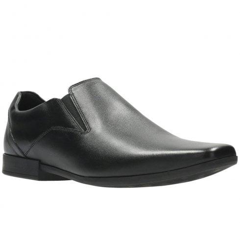 Clarks Mens Glement Slip Black Leather Smart Shoes