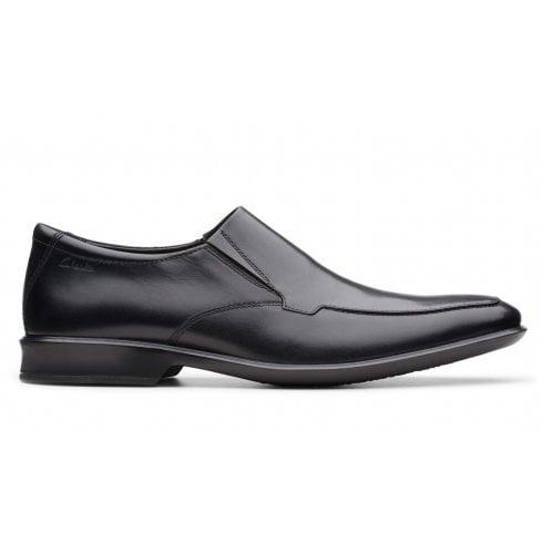 Clarks Mens Bensley Step Black Leather Slip On Shoes