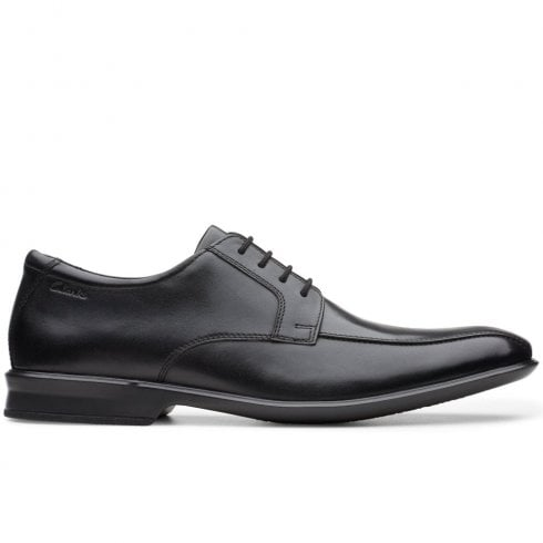 Clarks Mens Bensley Run Black Leather Lace Up Shoes