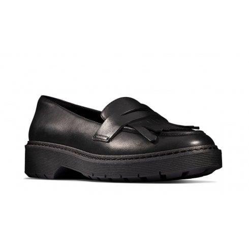 Clarks Witcombe Dawn Girls School Shoe - Black Leather