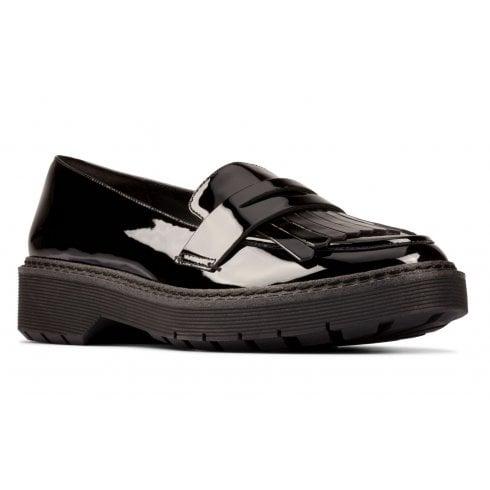 Clarks Witcombe Dawn Girls School Shoe - Black Patent