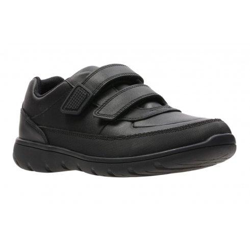 Clarks Venture Walk Boys Velcro School Shoe - Black Leather