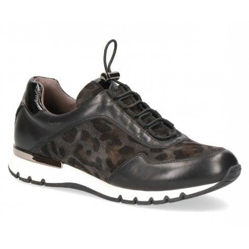 Caprice 23707 Black Leopard Trainers