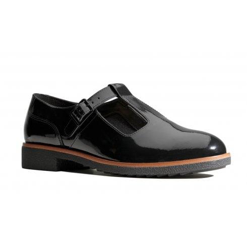 Clarks Griffin Town Black Patent T-Bar Shoes