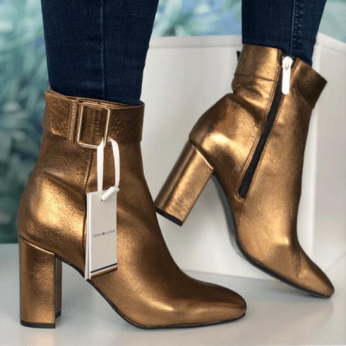Tommy Hilfiger Metallic Square To Block Heel Boot