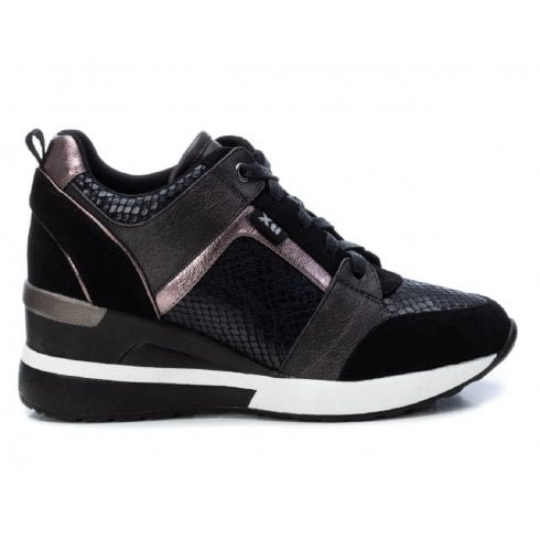44654 Black Reptile Wedge Trainers