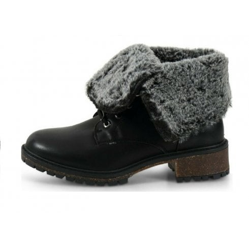 XTI Lace Up Ankle Boot With Turn Down Fur