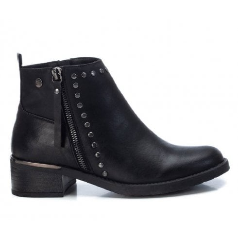 XTI Black Flat Ankle Boot With Stud Detailing