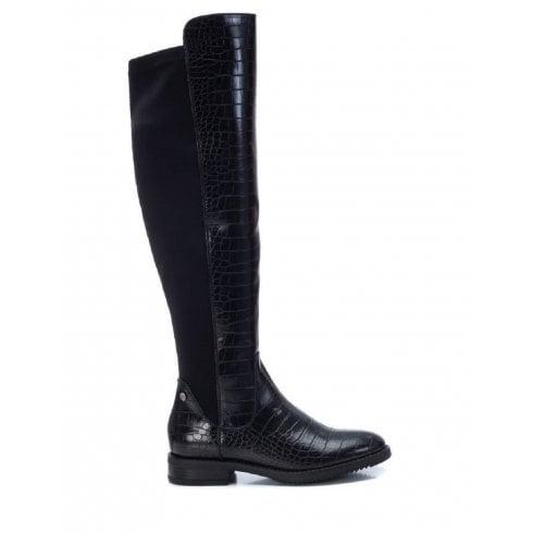 XTI Black Croc Flat Knee High Boot