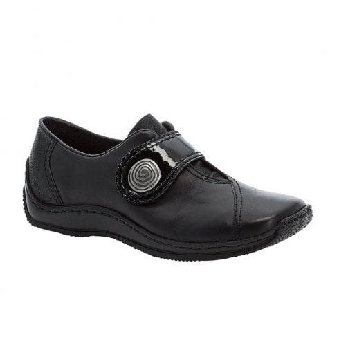 Rieker Ladies Low Wedge Velcro Shoes - Black