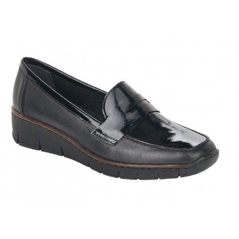 Rieker Ladies Wedge Slip On Loafer Shoes - Black