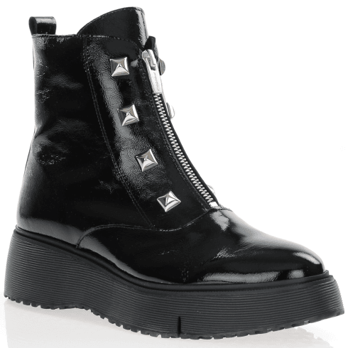 Wonders 9301 Front Zip Chunky Ankle Boot