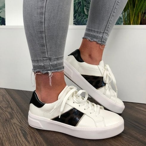 Tamaris White Lace Up Trainers With Leopard Panel