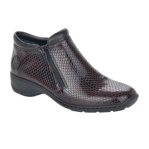 Rieker Ladies Burgundy Snake Twin Zip Boot